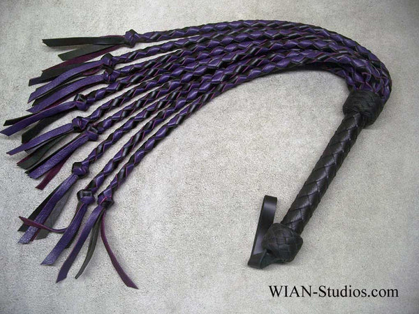 Round Braid Cat-O-Nine in Black and Purple