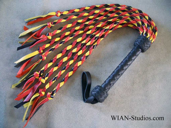 Round Braid Cat O Nine, Red, Orange, Yellow and Black