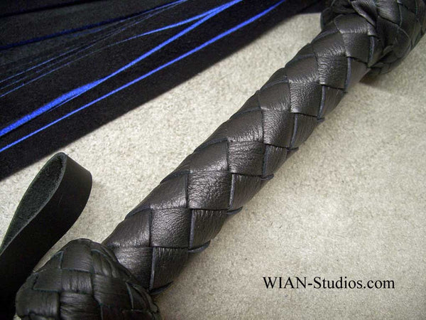 Black and Royal Blue Chap Suede Flogger, Medium, Blue cut edges