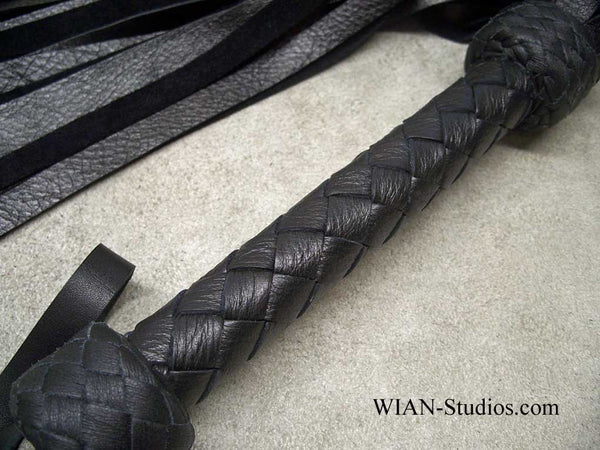 Black Cowhide Flogger, Black Handle