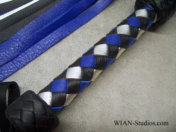 Blue, Black and Metallic Silver Cowhide Flogger