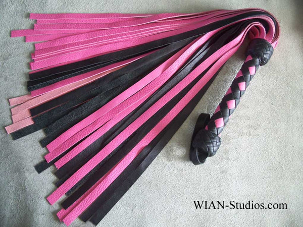 Pink and Black Cowhide Flogger