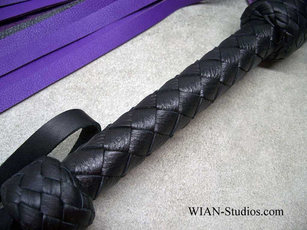 Purple and Black Cowhide Flogger