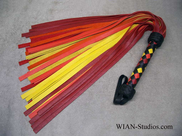 Red, Yellow and Orange Cowhide Flogger