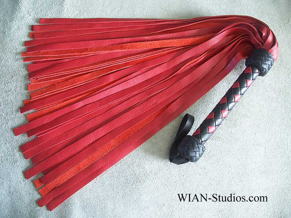Cherry Red Cowhide Flogger