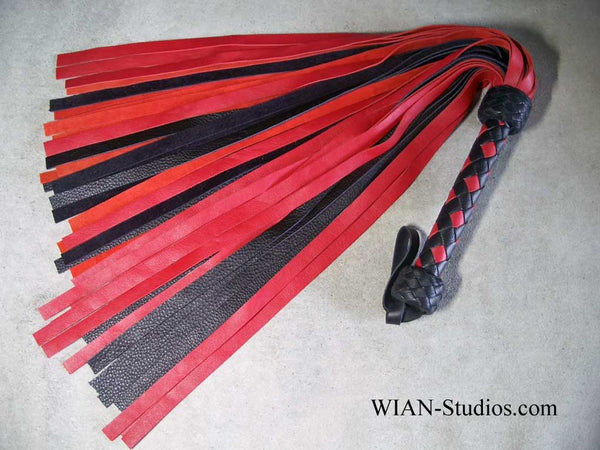 Red and Black Cowhide Flogger