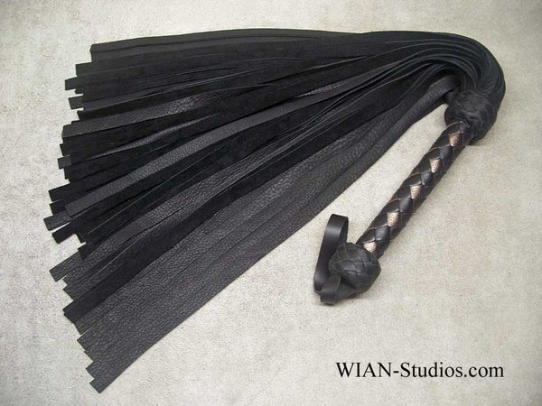 Black Elk Flogger, Black and Bronze Handle