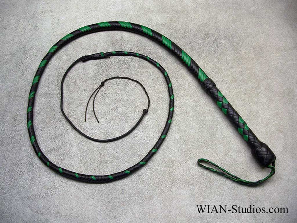 Mini Bull Whip, Black with Green accents, 4'