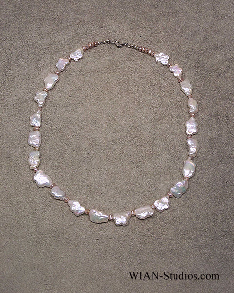 White Flat Baroque Pearl Necklace