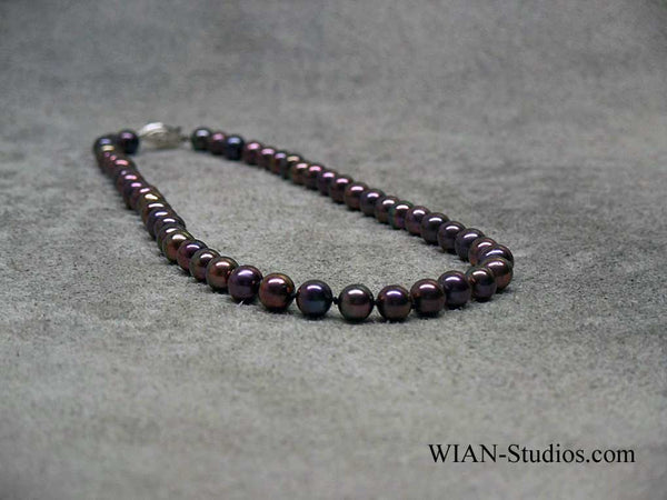 Black Peacock Pearl Necklace, 8mm, 20""