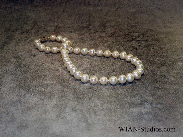 White Off Round Pearl Necklace, 10mm, 18""