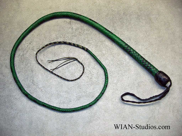 Signal Whip, Green with Black accents, 4'