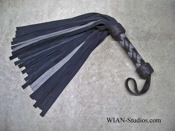 Dark Gray Chap Suede and Medium Gray Cowhide Flogger, Small