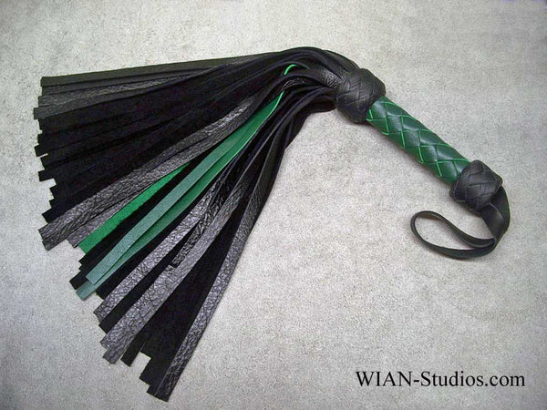 Black and Green Cowhide Flogger, Small