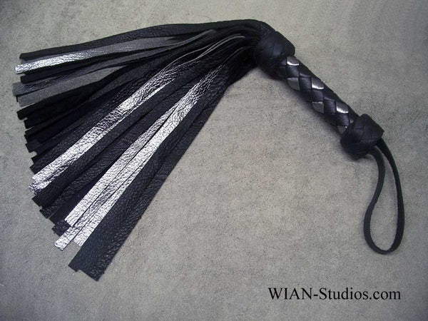 Black Elk and Silver Metallic Cowhide Flogger, Small