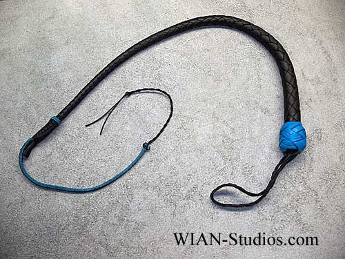 Snake Whip, Black with Turquoise Accents, 2'