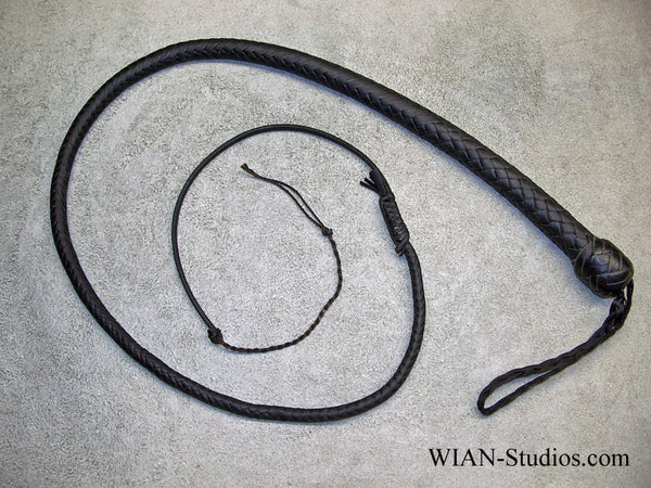 Snake Whip, All Black, 3'