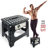 Awesome Super Strong Folding Step Stool - Black - Up to 300 Lbs