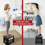 "Awesome Super Strong 11"" Folding Step Stool - Black - Up to 300 Lbs"