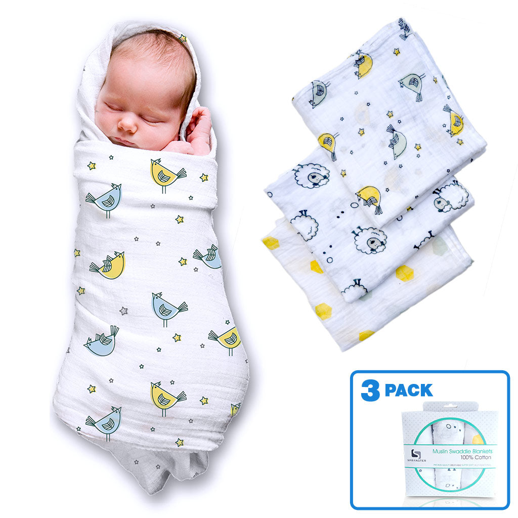 Comfy 100% Cotton Muslin Swaddle Blanket- 3 Pack – Spranster d5eb17f72