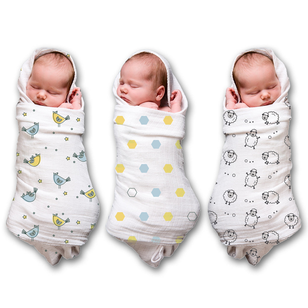 Comfy 100 Cotton Muslin Swaddle Blanket 3 Pack Spranster