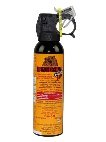 Frontiersman Xtra 1% Bear Spray with with Glow-in-the-Dark* Safety Wedge (225g bottle) - Frankensled Inc.