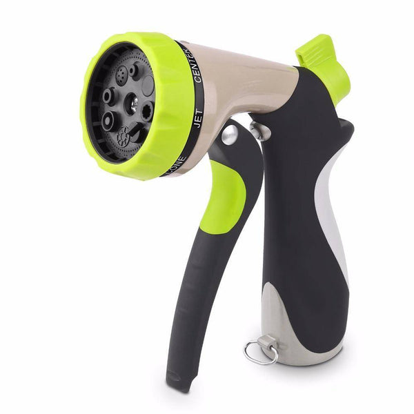 Garden Hose Nozzle Hand Sprayer 8 Pattern Adjustable Heavy Duty Metal Slip Resistant High Pressure Car Wash Water Gun Home Clean