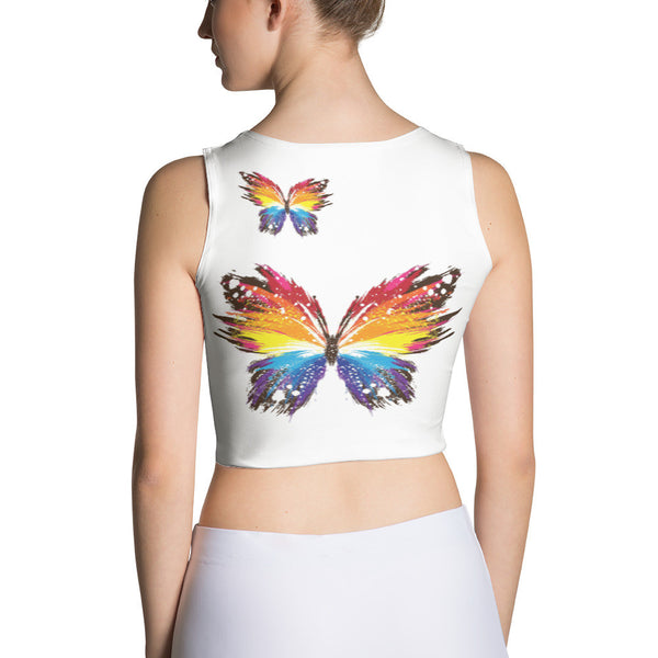 FirePower Logo Rainbow Butterfly Crop Top