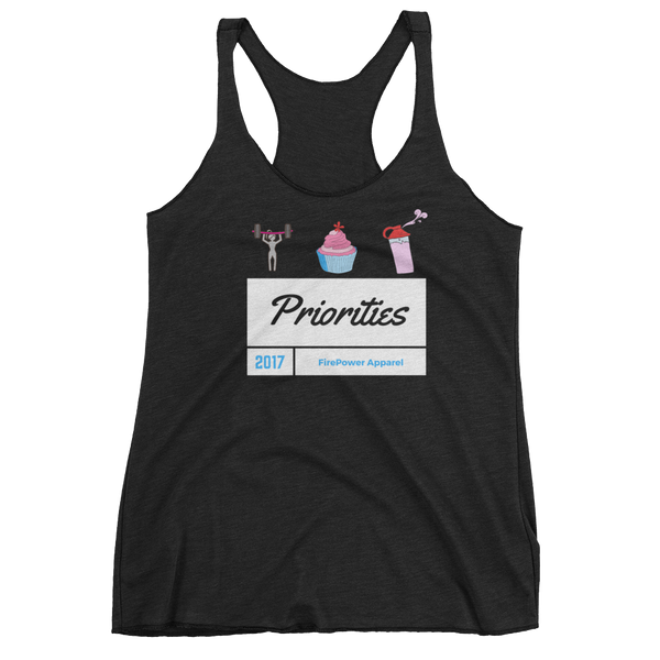 Weights Cupcakes and Protein Shakes Priorities tank top