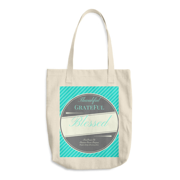 Thankful Grateful Blessed Cotton Tote Bag
