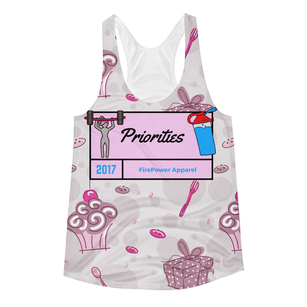 Weights Cupcakes and Protein Shakes Priorities Racerback Tank