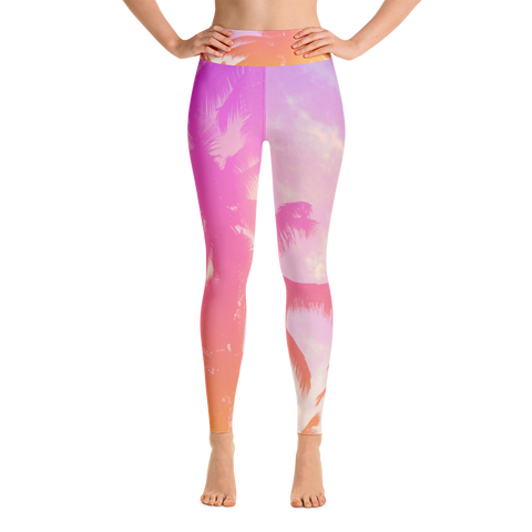 Pink Palm Tree Yoga Leggings