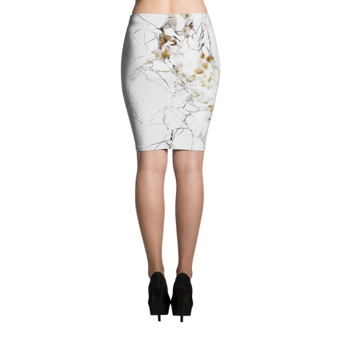 Golden Marble Pencil Skirt