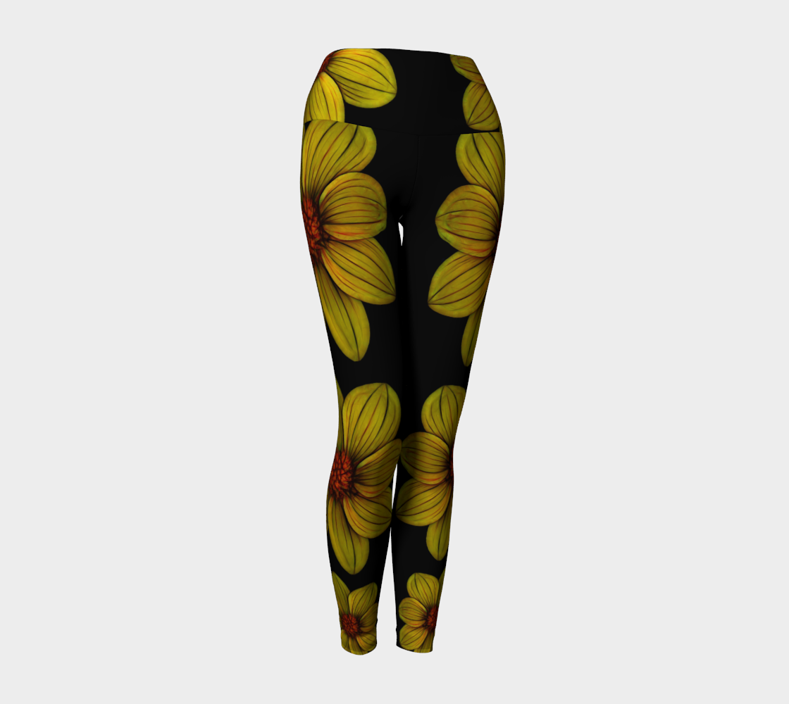 Yellow Floral Yoga Legging