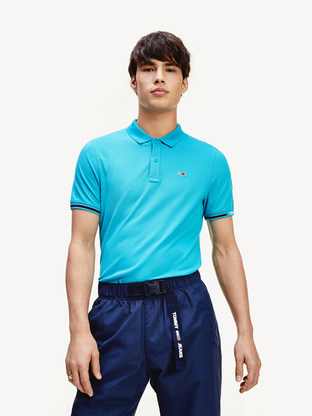 TOMMY JEANS Woven Logo Slim Fit Polo
