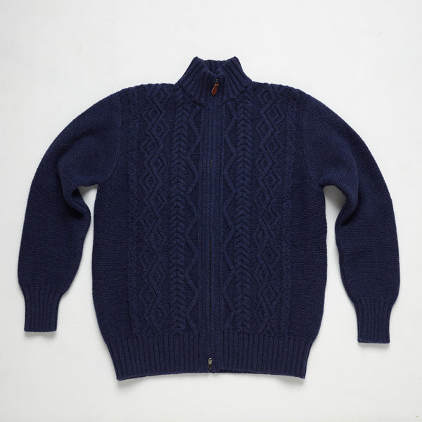 Inis Meain Aran Zipper Sweater - A1137 (Mid Blue)