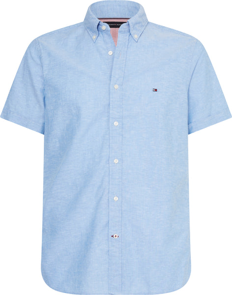 TOMMY HILFIGER SHORT SLEEVE COTTON LINEN SHIRT
