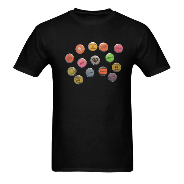 MEN'S-VHS BUTTONS- BLACK SHORT SLEEVE SHIRT