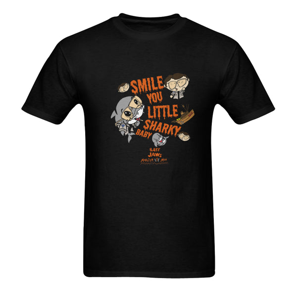 MEN'S-SMILE YOU LITTLE SHARKY BABY-BLACK SHORT SLEEVE SHIRT