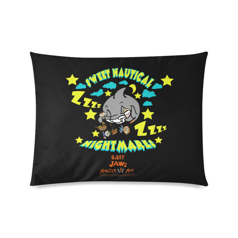 SWEET NAUTICAL NIGHTMARES -BLACK  PILLOW CASE