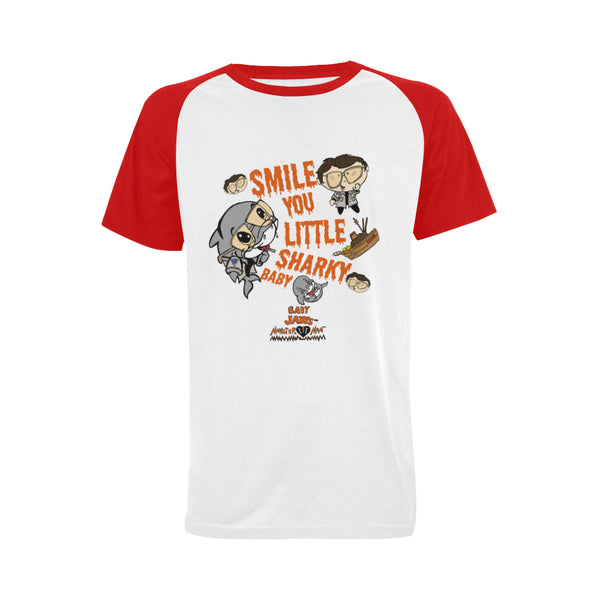 MEN'S-SMILE YOU LITTLE SHARKY BABY-RETRO RED SHORT SLEEVE SHIRT