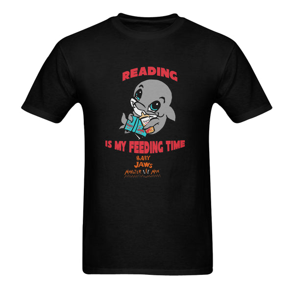 MEN'S- READING IS MY FEEDING TIME-BLACK SHORT SLEEVE SHIRT