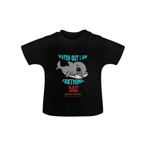 INFANTS-TODDLERS- WATCH OUT I AM TEETHING- BLACK SHORT SLEEVE SHIRT