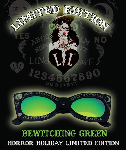 BEWITCHING GREEN GLOWING IN THE DARK  FRIGHT BOARD SUNGLASSES LIMITED EDITION HORROR HOLIDAYS