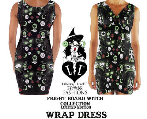 FRIGHT BOARD WITCH V-NECK WRAP DRESS
