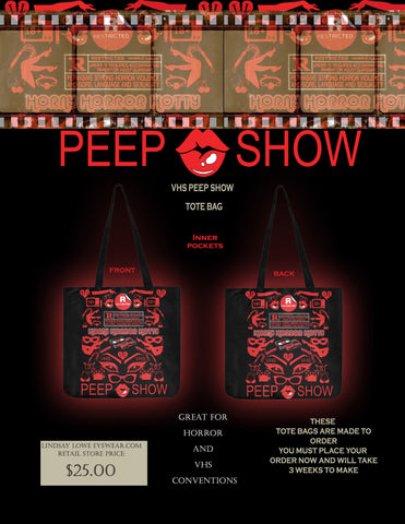 VHS PEEP SHOW TOTE BAG ( TWO SIDED )