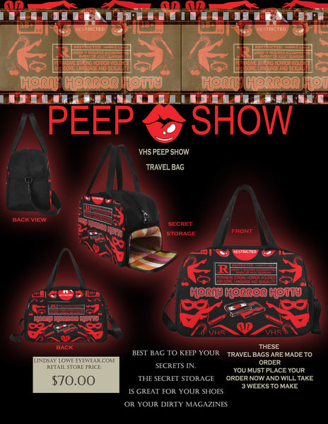 VHS PEEP SHOW TRAVEL BAG WITH SECRET COMPARTMENT