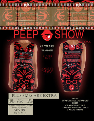 VHS PEEP SHOW V-NECK WRAP DRESS