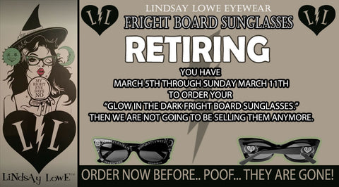 "RETIRING ""GLOW IN THE DARK FRIGHT BOARD SUNGLASSES"""