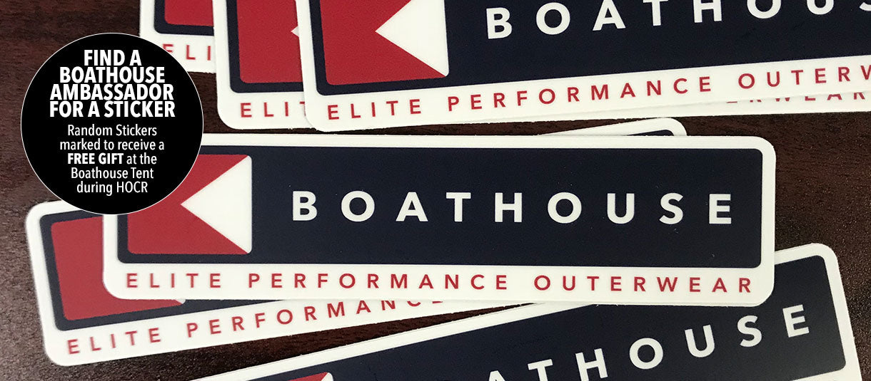 GET A FREE STICKER FOR YOUR CHANCE TO WIN A GIFT AT THE BOATHOUSE TENT